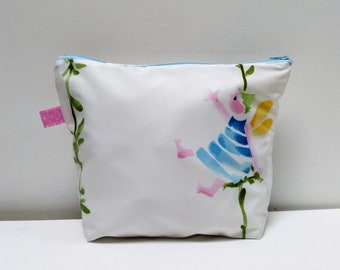 Toiletry bag, hand-painted designer fabric pouch