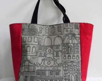 """""""Walk in town"""" red and taupe linen tote bag"""