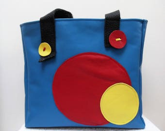 Joan Miro's primary-coloured leather bag