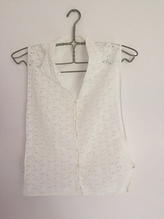 Vintage French white embroidery anglais tabard typ