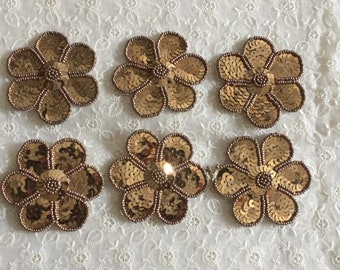 Vintage sequin and beaded floral motifs, beaded motif, sequin motif, beaded trim, deco beaded motif,