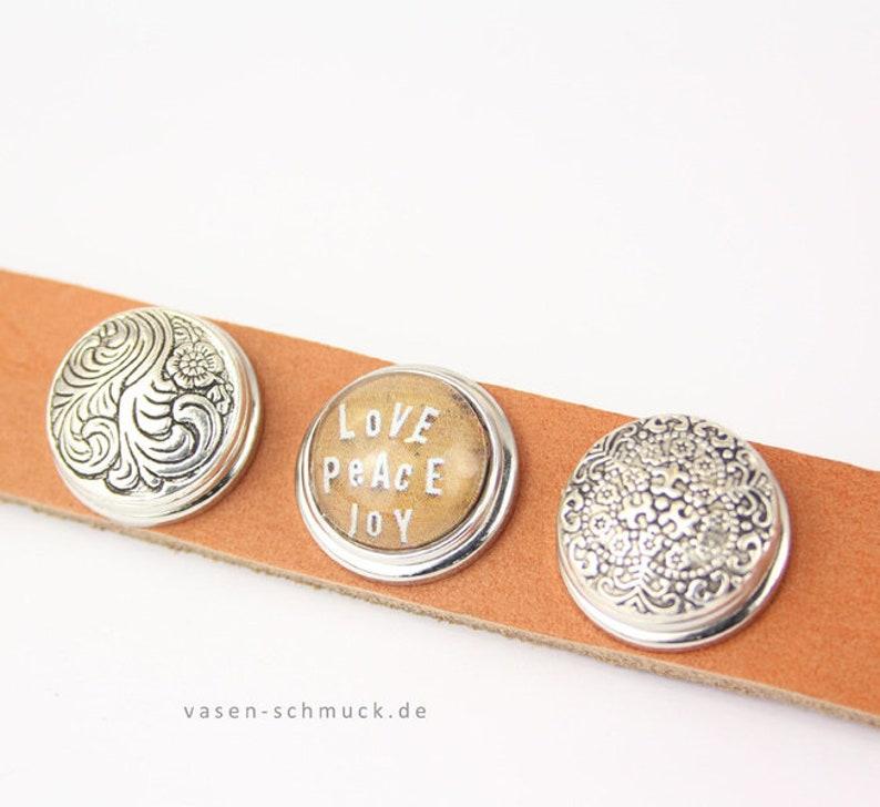 Rewind Leather Bracelet Cognac /& 6 motives love joy peace rose Happiness compatible interchangeable