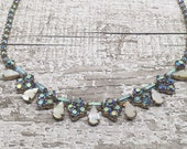 Vintage Mother of Pearl and Blue rhinestone necklace - adjustable length
