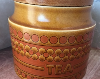 7ab81b41874 Hornsea Saffron pattern tea canister or container with wooden lid