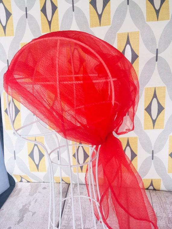 Damen Schmuck-Schal Tuch Halstuch orange mit Strass-Anhänger