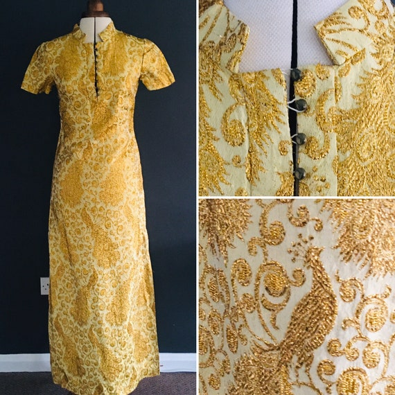 Gold sparkle Evening Dress or gown with metallic p