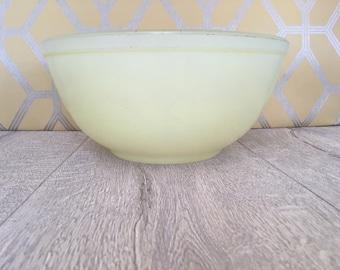 Lemon Yellow Pyrex Mixing Bowl, Vintage JAJ pyrex pale yellow sprayware bowl