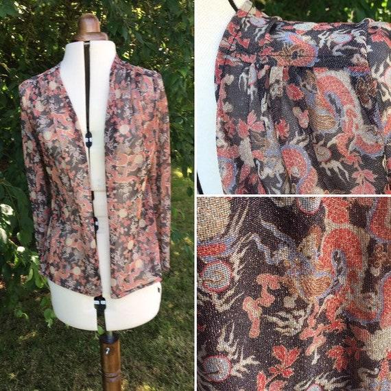 Dragon  ladies blouse seventies long  sleeved meta