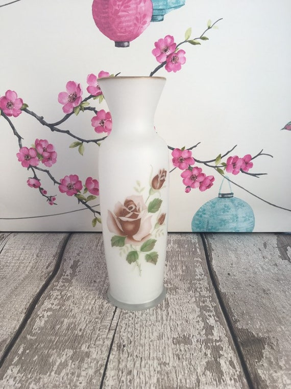 White opaline glass vase with pastel pink rose decoration
