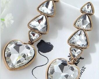 White crystal heart earrings