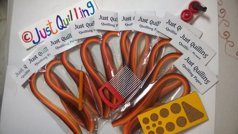 Quilling Paper 5mm 10 shades of Orange packs with tools crimper comb;toolPapercraft tools and accessories crimper machine mini board