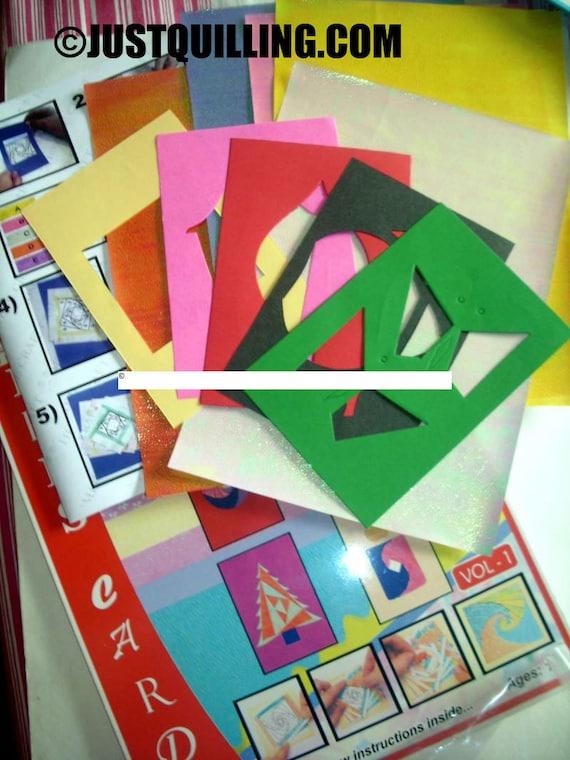 Iris folding kit 5 cardmaking projects papercraft kit iris etsy image 0 m4hsunfo