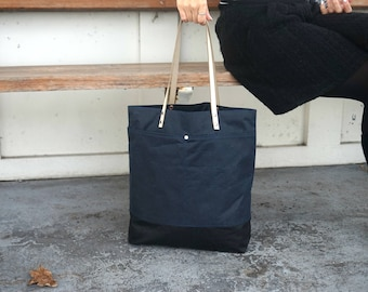 Navy Blue Tote Bag - Wax Coated Shoulder Bag-  Blue Canvas Everyday Bag - Shopping Bag- Style AUT