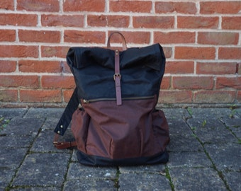 Waxed Canvas BackPack - Unisex Black Roll Up Back Bag - Wax Canvas Water Resistant Bag - Stylish Rucksack - Style:WREK