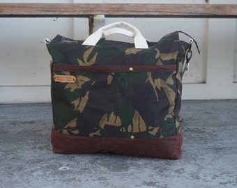 Camo Canvas Bag -Wax Coated Bag - Water Resistant Canvas Bag- Canvas Cabin Bag - Army Theme Bag style: OASIS