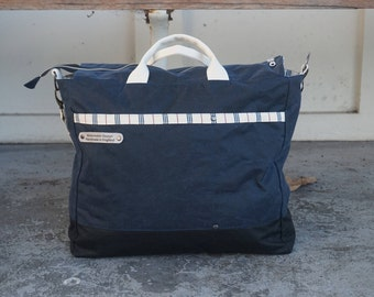 Navy Blue Canvas Bag - Blue Wax Coated Bag - Water Resistant Canvas Bag- Canvas Cabin Bag -style: OASIS