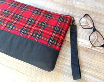 Red Plaid Large Clutch Bag - Red Plaid Navy Blue Tartan Handbag - Red Tartan Clutch
