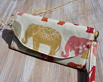 Women's Fabric Wallet - Elephant Design Ladies Large Fabric Wallet - Women's Organizer Wristlet Wallet