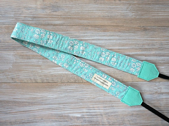 Turquoise DSLR Camera Strap Liberty Camera Strap Liberty Strap with Cap Pocket Tana Lawn Capel G Turquoise