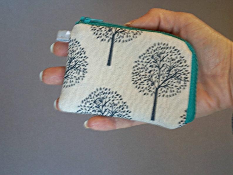 Tree Coin Purse Small Coin Purse Cotton Linen Coin Purse Floral Small Zipper Pouch