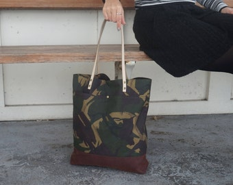 Camo Tote Bag - Wax Coated Shoulder Bag- Camo Everyday Bag - Army Theme Tote- Style AUT