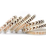 WHITE LIGHT - Copper Dash and Arrow Pattern - Handmade Ceramic Bangle