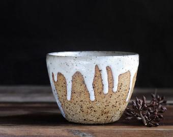 MILKY DRIBBLE CUP - Tea Bowl - Wheel Thrown Stoneware