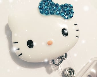 Blue Kitty 3D Retractable Badge Reel / Name Badge / ID Badge Holder