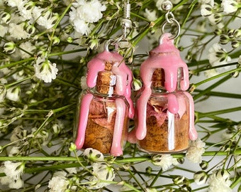 Self Love attraction witch spell jar earrings