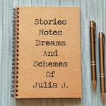 Personalized Journal - Stories Notes Dreams and Schemes Notebook - 5 x 7 Journal, Best Friend Gift, Spiral Notebook, Sketchbook, Scrapbook,