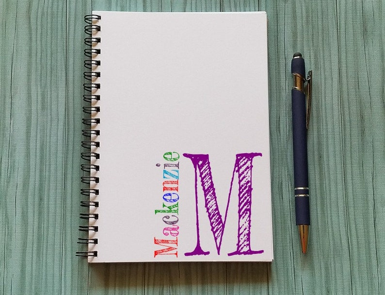 Personalized Notebook COLORED Custom Name & Monogram 5 x 7 image 0