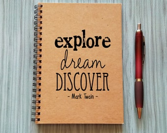 Explore, Dream, Discover, Bullet Journal, Notebook - 5 x 7 Journal, Sketchbook, Personal journal, Diary, Black and White