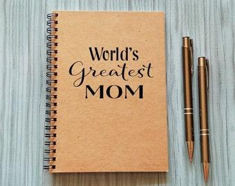 Writing Journal, World's Greatest Mom - 5 x 7 Journal, Notebook, Sketchbook, Scrapbook, Gift for Mom