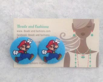 Mario inspired fabric cover button earrings