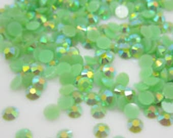 100pc green ab 3mm jelly resin cabochon diy flatback