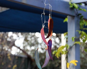 Stainless steel rainbow coloured decorative eucalypt leaf wind chime