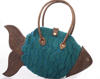 """Felted Fish tote bag with leather  - """"FISH 00"""""""