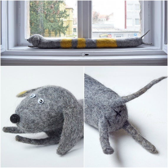 Felted Striped Dog Draught Excluder Etsy