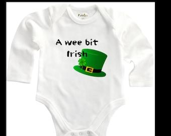 St. Patrick's Day Long Sleeve Onesie-Bit Irish