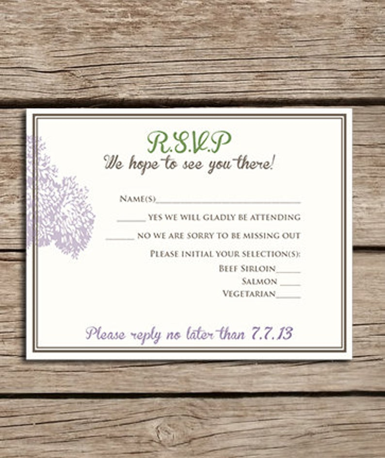 Wedding Nature Many color options Downloadable File Printable Made to order Tree Wedding Invitation /& RSVP