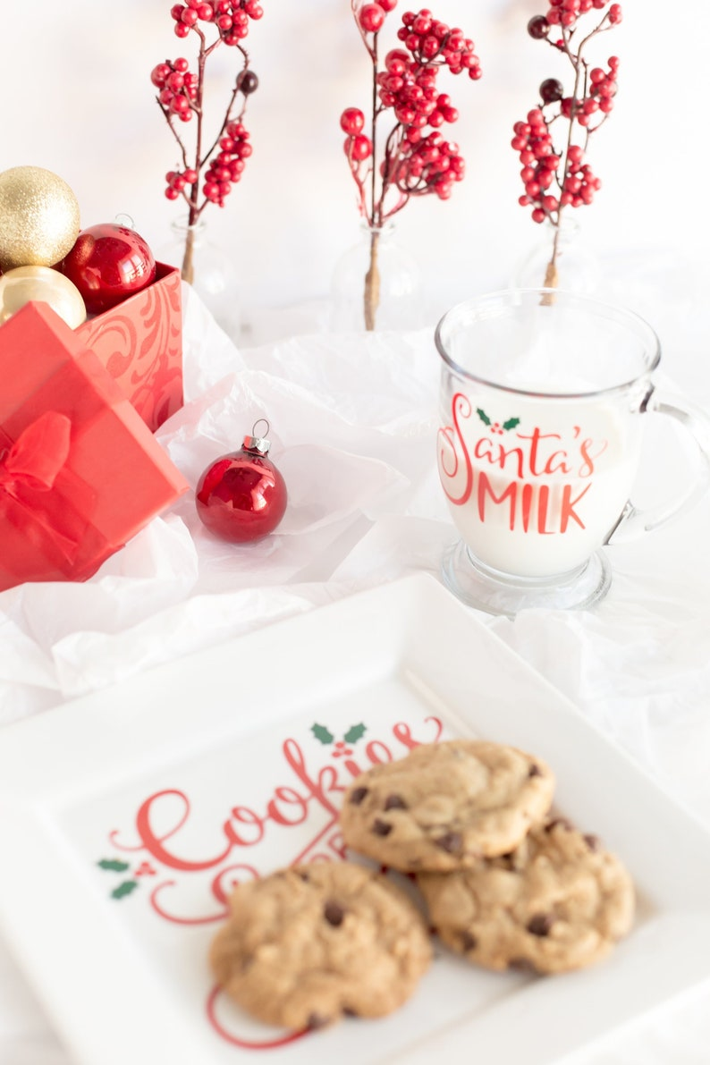 Milk And Cookies For Santa Set Santa Mug Milk For Santa Cookies For Santa Santa Visit Holiday Dinnerware Custom Dinnerware Custom Mug