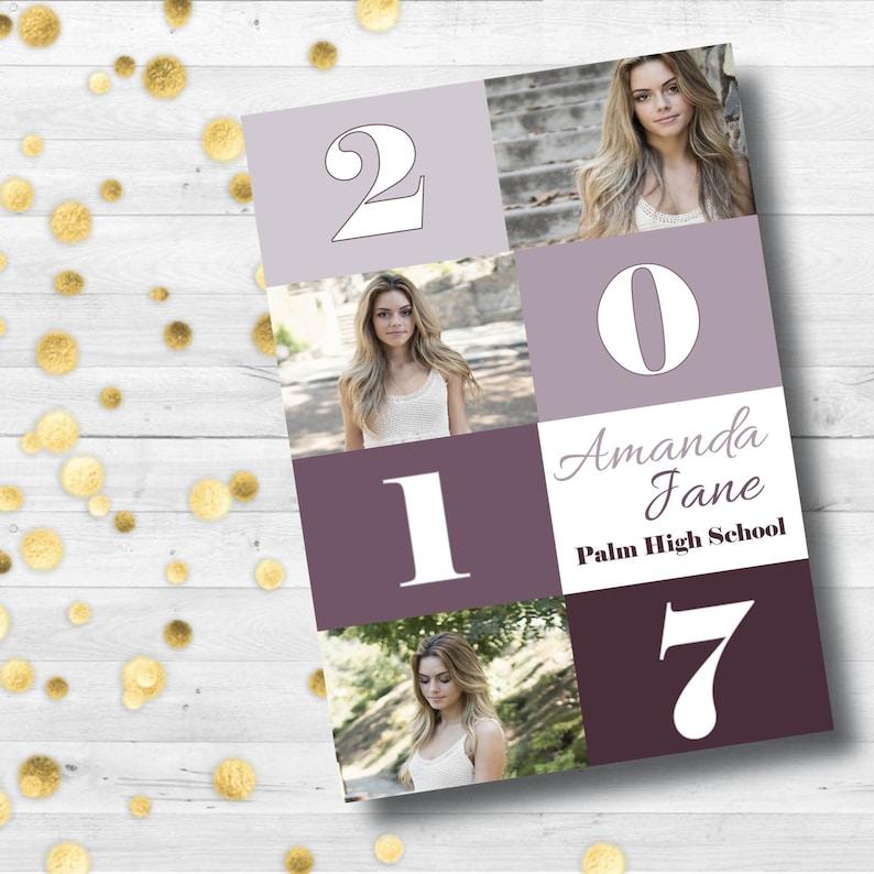 Graduation Announcement  Senior Announcement  Graduation Party Invite  Class of 2017  Printed Announcement  Graduation Card