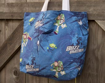 Toy Story & Dr. Who Mini Tote, Shopping Bag, Tote, Grocery Bag, Reusable, Vegan