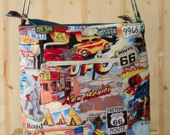 Route 66 Themed Cross-body, Handbag, Bag, Shopping Bag, Shoulder Bag, Purse, Vegan