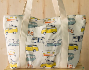 Camping Trailer Shopping Bag, Shoulder Bag, Tote, Grocery Bag, Reusable, Vegan
