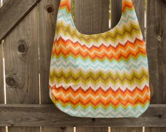 Colorful Neon Zig-Zag Chevron Hobo, Shopping Bag, Tote, Grocery Bag, Reusable, Vegan