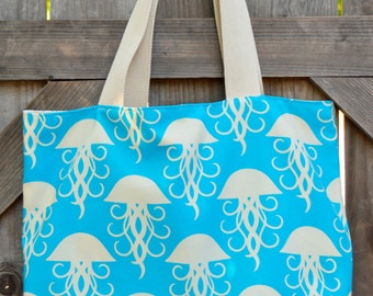 Blue and White Jellyfish Pattern Shopping Bag, Tote, Grocery Bag, Reusable, Vegan