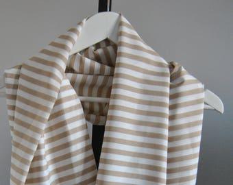 Infinity Scarf/circle scarf/striped/beige/fall scarf/winter scarf
