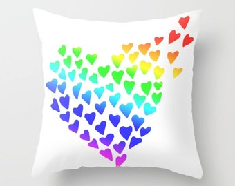 LGBT Pillow Cover, Pride Pillow, Hearts Pillow, Lesbian Pillow, Gay Pillow, Rainbow Pillow, Heart Pillow, Valentine Pillow, 80s, Sweetheart