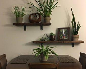 Reclaimed Wood Shelf. Wood And Steel Shelf. Old Wood Shelf. Rustic Shelf.  Kitchen Shelf. Barn Wood Shelf. Custom Shelf.
